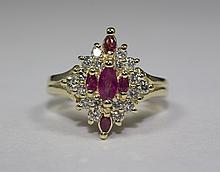 14k Yellow Gold Marquise Red Ruby and White Diamond Ring Size 6.75