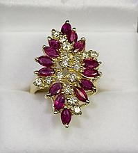14k Yellow Gold Elegant Marquise Red Ruby And White Diamond 1.92ct Ring Size 7.5