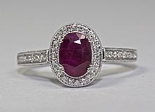 18k White Gold Oval Shaped Red Ruby And White Round Diamond Halo Ring Size 6.5