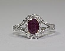 14k White Gold Oval Shaped Red Ruby And White Round Diamond Halo Ring Size 7