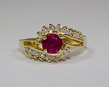 14k Yellow Gold Round Red Natural Ruby And Round White Diamond Ring Size 5