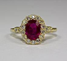 14k Yellow Gold Oval Red Ruby And Round White Diamond Single Halo Ring Size 6.25