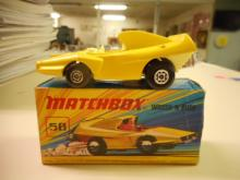 Matchbox Superfast No.58 Woosh-n-Push - lemon yellow body toy car with racing No.2 rear label, pale yellow interior, bare metal base, Maltese Cross wheels - Excellent