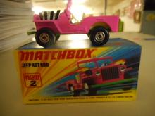 MATCHBOX Superfast 2 Jeep toy car Hot Rod Pink / RARE LIGHT GREEN Base w/orig box