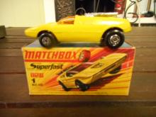 MATCHBOX Superfast toy car 1B Mod Rod Yellow 1  lesney corp orange interior with box