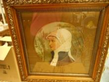 Bessie Gilson . Head and shoulders of a young maiden, print on cardboard, signed,
