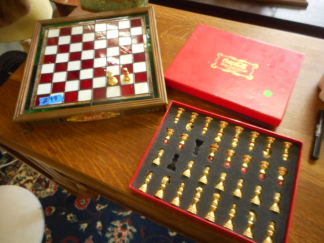 Coca Cola Stained Glass Chess Game Set 24k Gold Plated Frank