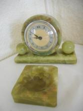 VINTAGE ART DECO MARBLE MANTLE CLOCK GREEN Agate by Whitehall Hammond and Green Agate Ashtray