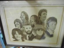 The Beatles Framed Print by Chaplin around 1970's ***VERY RARE***
