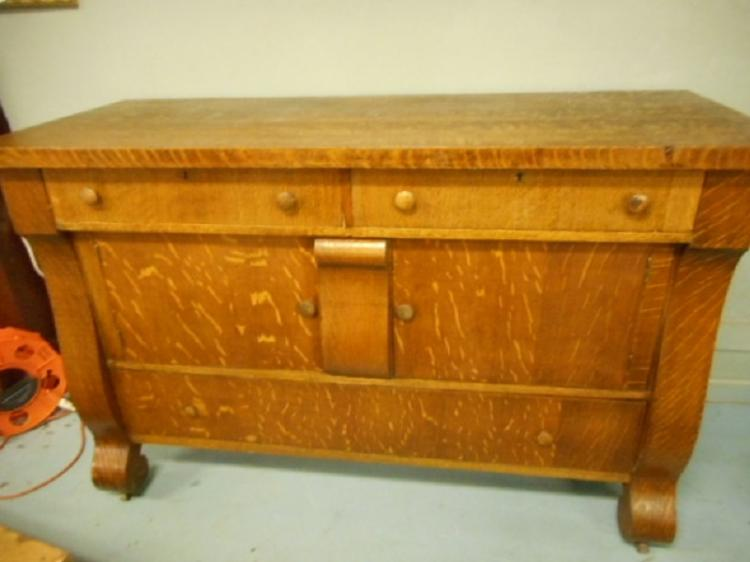 Antique Empire Tiger Oak Dining Room Server Buffet Sideboard