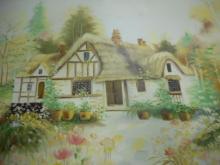 Cottage House original painting artist signed  Melton Framed