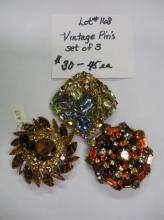 SET OF 3 VINTAGE PINS