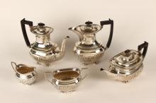 Late Victorian Five Piece Silver Plate Tea Set,