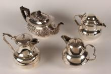 Four Various Silver Plate Teapots,