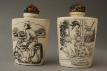 Pair of Chinese Bone Snuff Bottles and Stoppers,