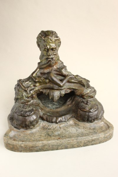 Wonderful Early 20th Century French Bronze Inkwell