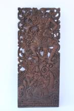 Indonesian Carved Wooden Panel,