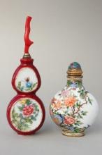 Two Chinese Snuff Bottles and Stoppers,