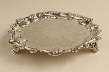 Heavy George III Sterling Silver Footed Card Tray,