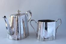 Late Victorian Silver Plate Tea Pot and Sugar Bowl