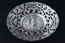 Dutch Silver Oval Sweets Meats Dish, c.1925