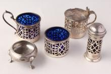 Silver Plate and Sterling Silver Cruet Pieces,