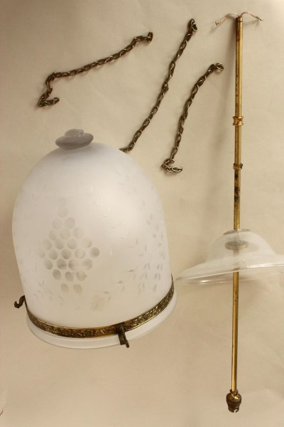 Frosted And Etched Glass Bell Jar Hanging Light