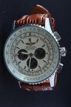 Gents Wrist Watch with Leather Band,