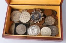 Cigarette Box Containing Mixed World Coins,