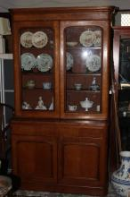 Colonial Australian Silky Oak Glazed Bookcase,