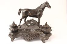 French Cast Bronze Figural Inkwell, after Pierre