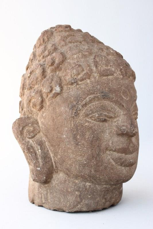 Early carved indian stone head
