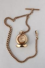 English 9ct Gold Sovereign Case and Fob Chain,
