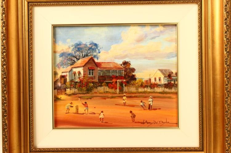D Arcy Doyle Cricket Game Oil Painting