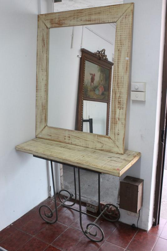 Metal Foyer Table Mirror : Forged iron and wooden mirror hall table