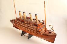 Wonderful Wooden Model of a Steamship,