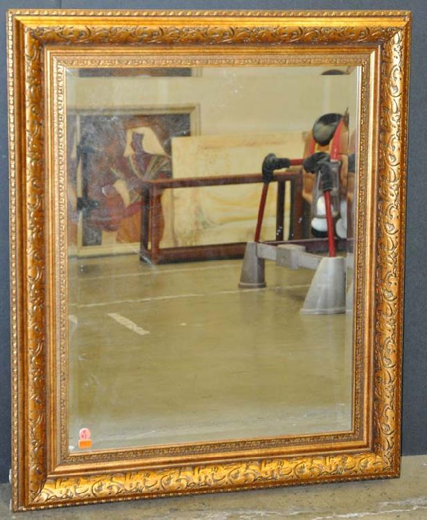 Beveled Mirror In Ornate Gold Frame 30 X 36