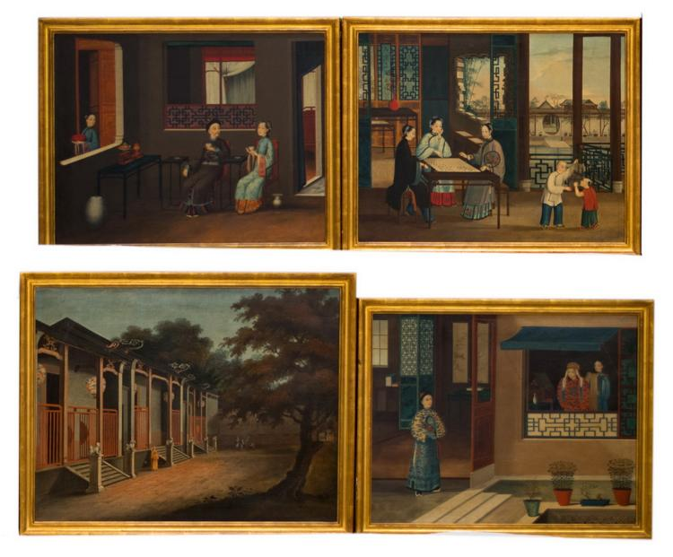 SET OF FOUR CHINA TRADE PAINTINGS