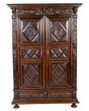 CONTINENTAL CARVED ARMOIRE