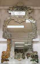 PAIR OF VENETIAN ETCHED GLASS MIRROR