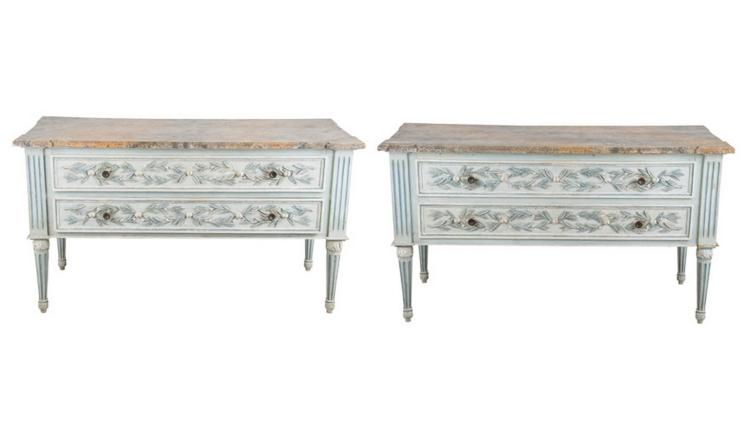 PAIR OF LOUIS XVI STYLE PAINTED TWO-DRAWER COMMODES