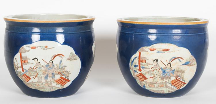 PAIR OF CHINESE BLUE GROUND PORCELAIN PLANTERS