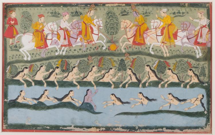 GAMES BY THE JAMUNA RIVER; KRISHNA PLAYS POLO AND THE GOPIS SWIM