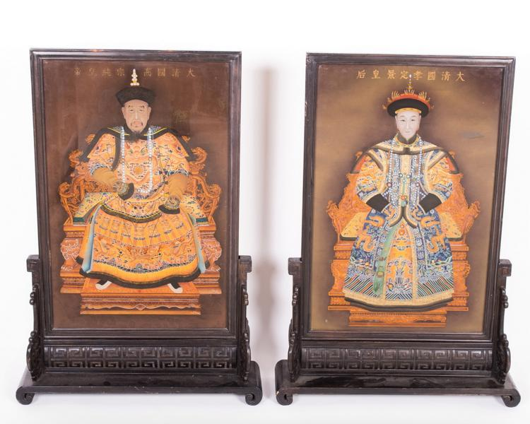 PAIR OF CHINESE REVERSE ANCESTRAL PANELS