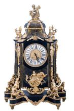 LOUIS XIV STYLE ORMOLU & BOULLE INLAY MANTLE CLOCK