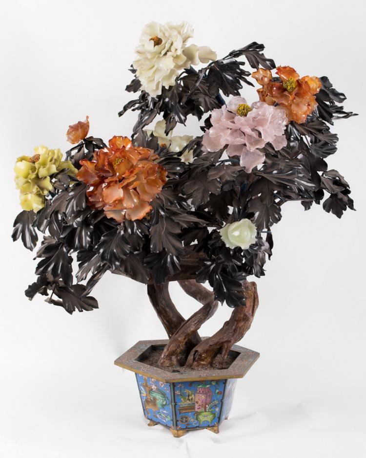 PAIR OF PALATIAL CHINESE CLOISONNE JADE TREES
