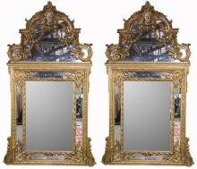 PAIR OF FRENCH REGENCE STYLE GILTWOOD MIRRORS