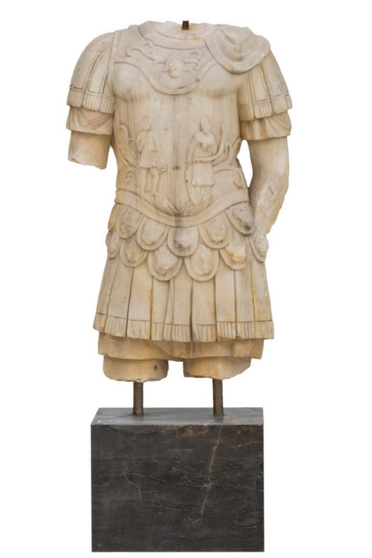 CARVED MARBLE TORSO OF A SOLDIER