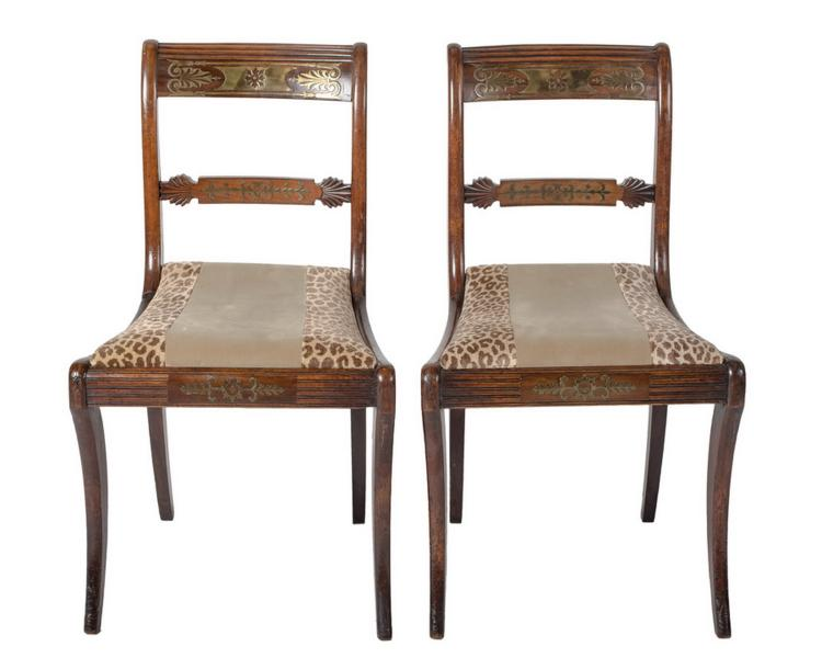 SUITE OF SIX REGENCY BRASS-INLAID MAHOGANY SIDE CHAIRS