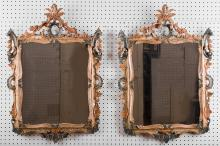 PAIR OF ITALIAN ROCOCO PAINTED MIRRORS
